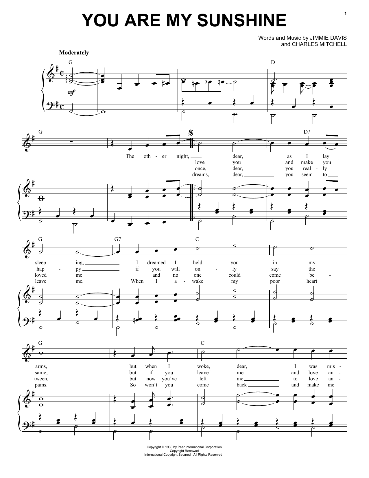 Norman Blake 'you Are My Sunshine' Sheet Music, Notes & Chords In - Free Printable Piano Sheet Music For You Are My Sunshine
