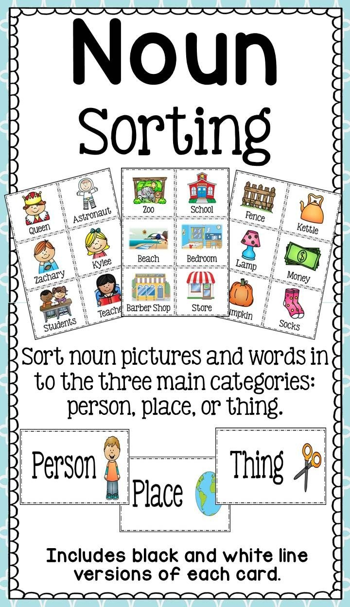 Noun Sort - Person, Animal, Place, Or Thing? | Literacy - Amanda's - Free Printable Noun Picture Cards