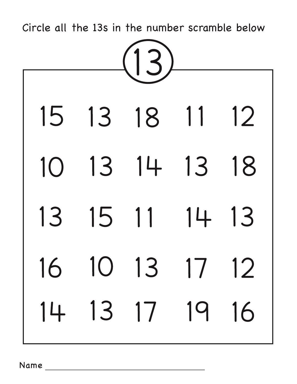 Number 13 Worksheet Circle | Grade R Activities | Preschool - Free Printable Number Worksheets
