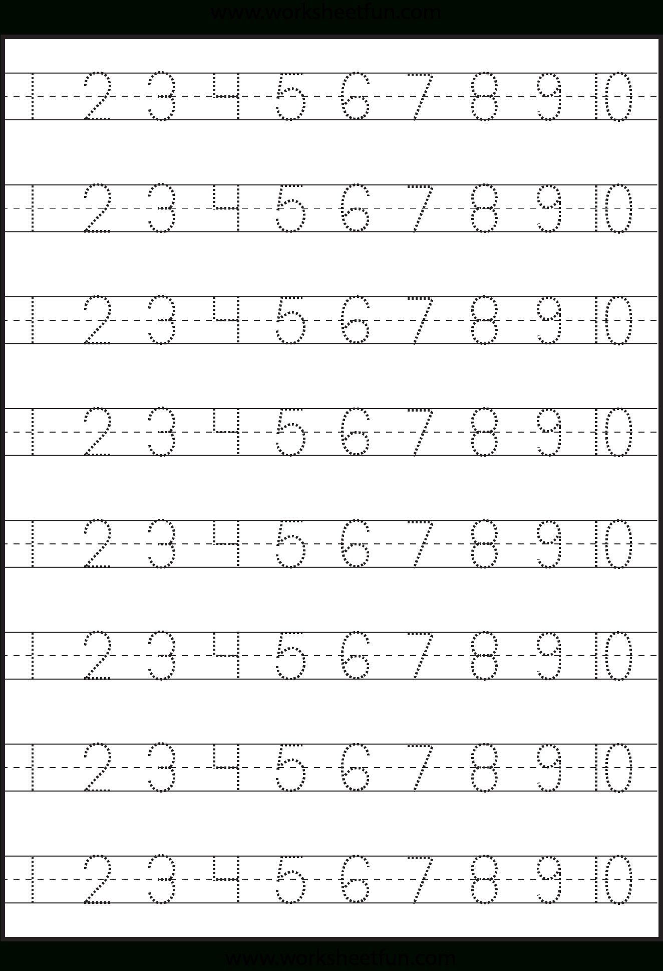 Number Tracing – 1-10 – Worksheet / Free Printable Worksheets - Free Printable Numbers 1 10