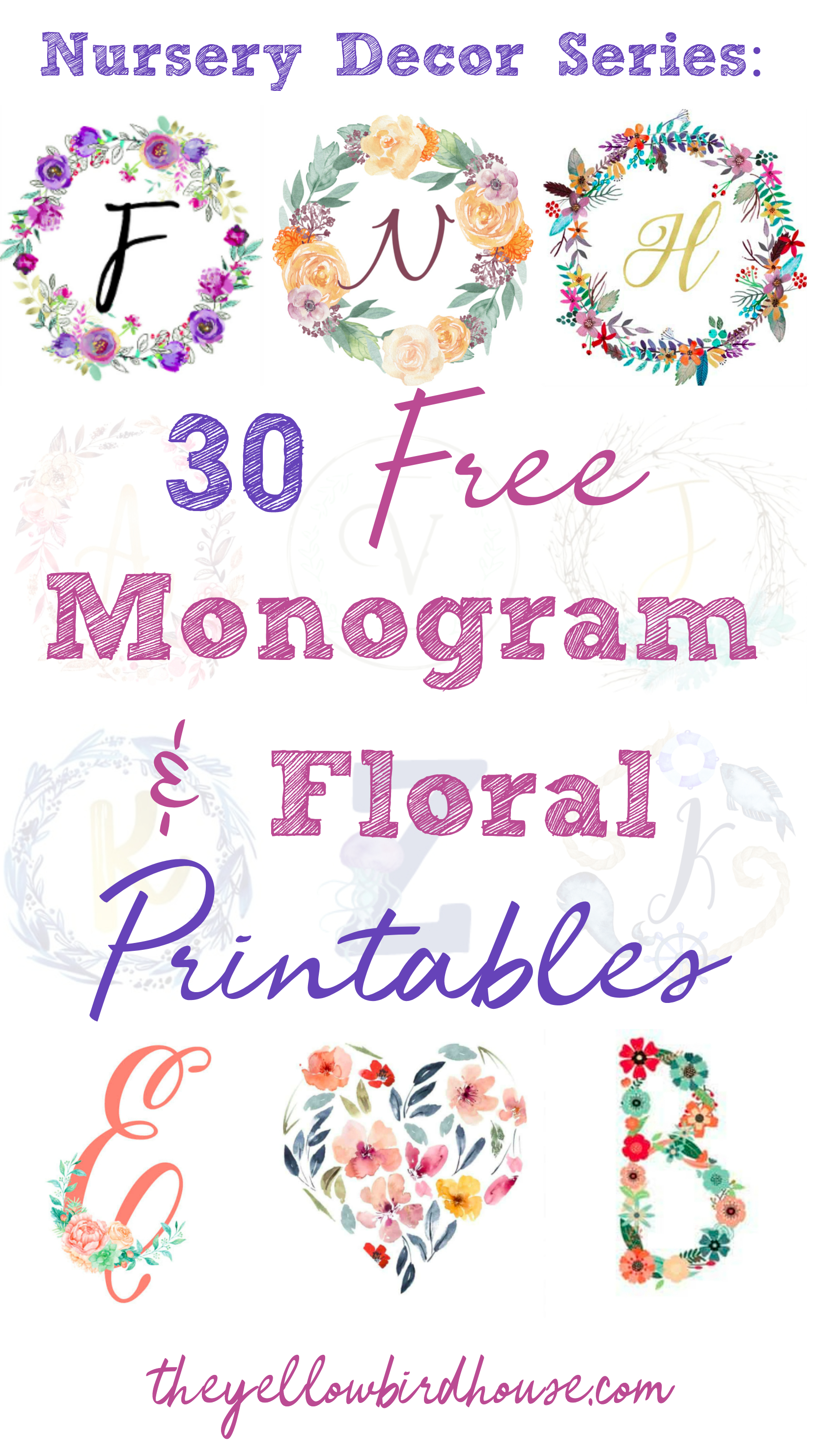 Nursery Decor Series: 30 Free Monogram Printables - Free Printable Monogram Initials
