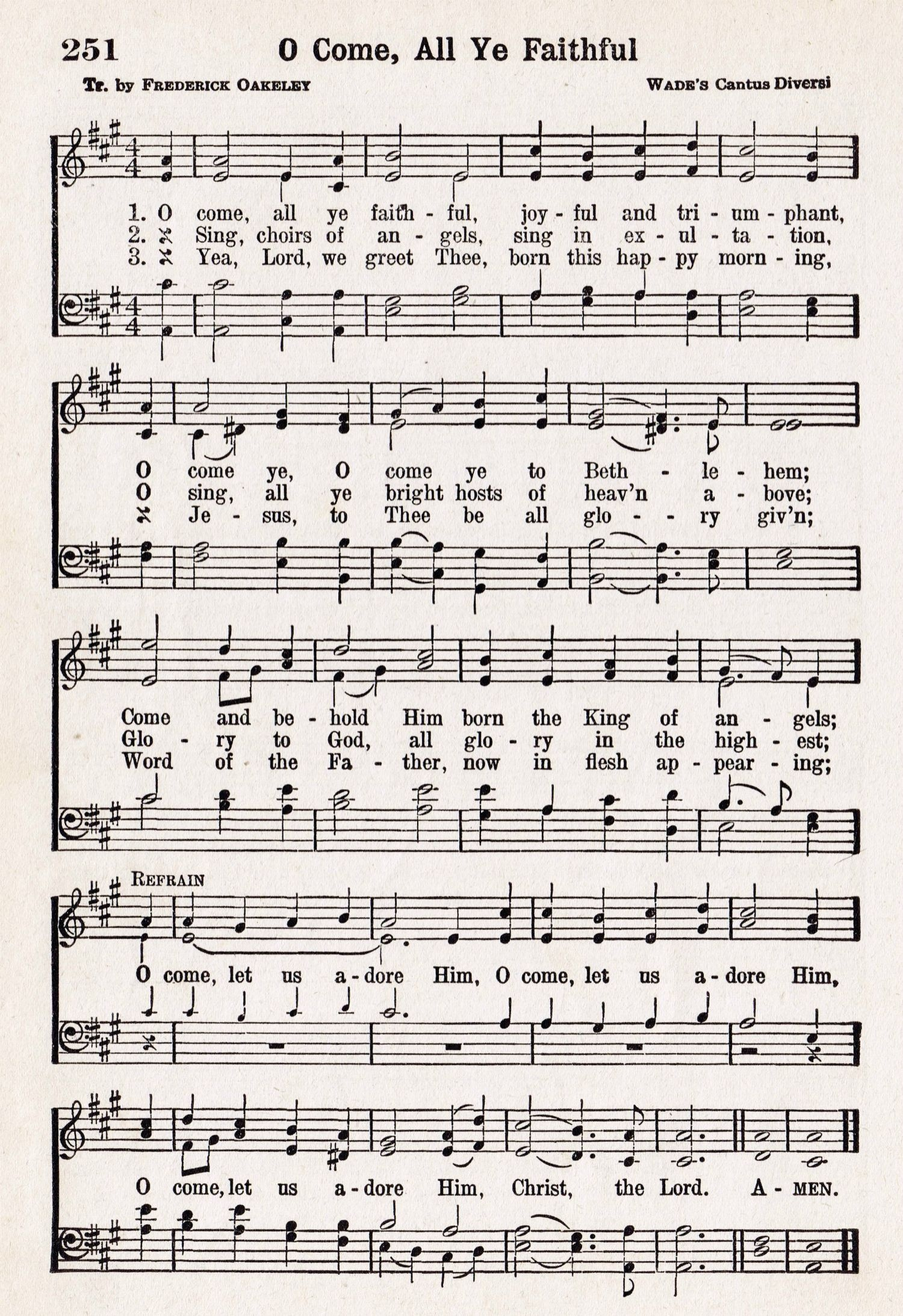O Come, All Ye Faithful – Printable Antique Christmas Music Page - Free Printable Lyrics To Christmas Carols