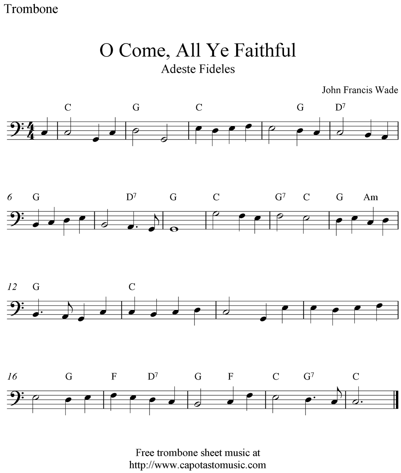 O Come, All Ye Faithful, Simple Music For Trombone. | Music & Things - Sheet Music For Trombone Free Printable
