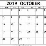 October 2019 Calendar   Free Printable Calendar   Free Printable Schedule