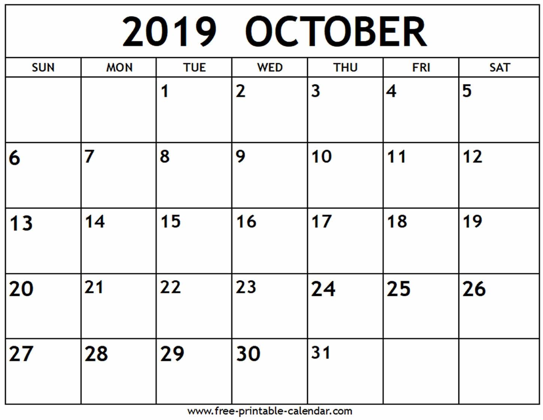 October 2019 Calendar - Free-Printable-Calendar - Free Printable Schedule