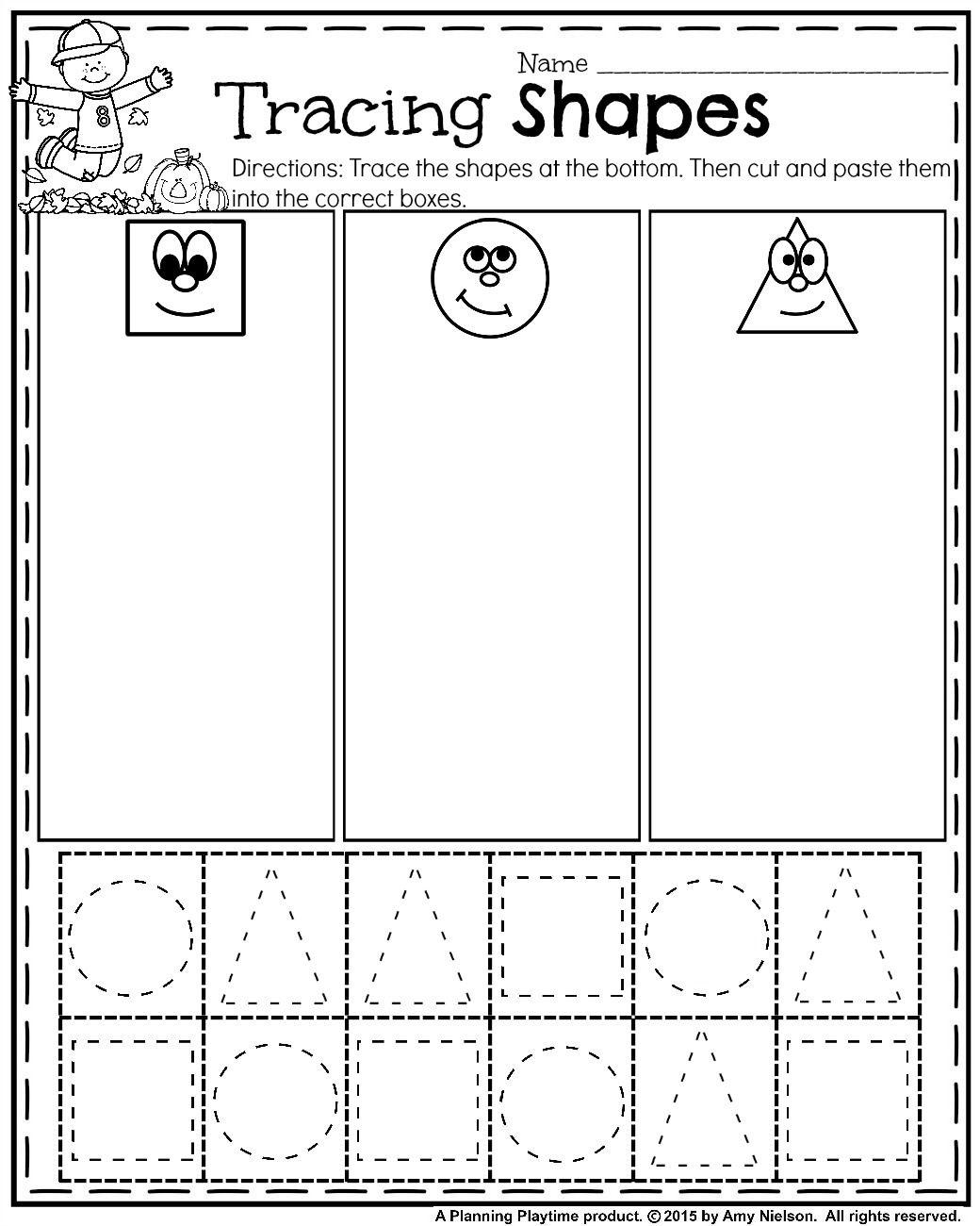 October Preschool Worksheets | Sheets | Preschool Worksheets, Shape - Free Printable Kindergarten Worksheets Cut And Paste