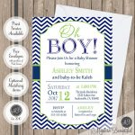 Oh Boy Baby Shower Invitation Navy And Lime Green Chevron | Etsy   Free Chevron Printable Invitations