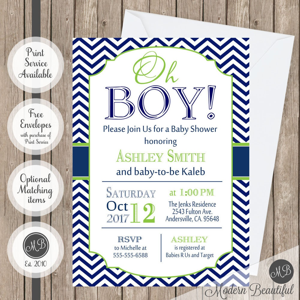 Oh Boy Baby Shower Invitation Navy And Lime Green Chevron | Etsy - Free Chevron Printable Invitations
