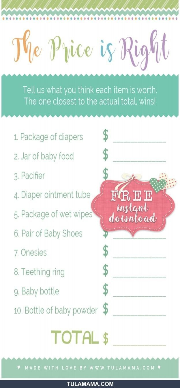 """Only The Easiest, Cutest """"price Is Right Baby Shower Game"""" Template - Price Is Right Baby Shower Game Free Printable"""