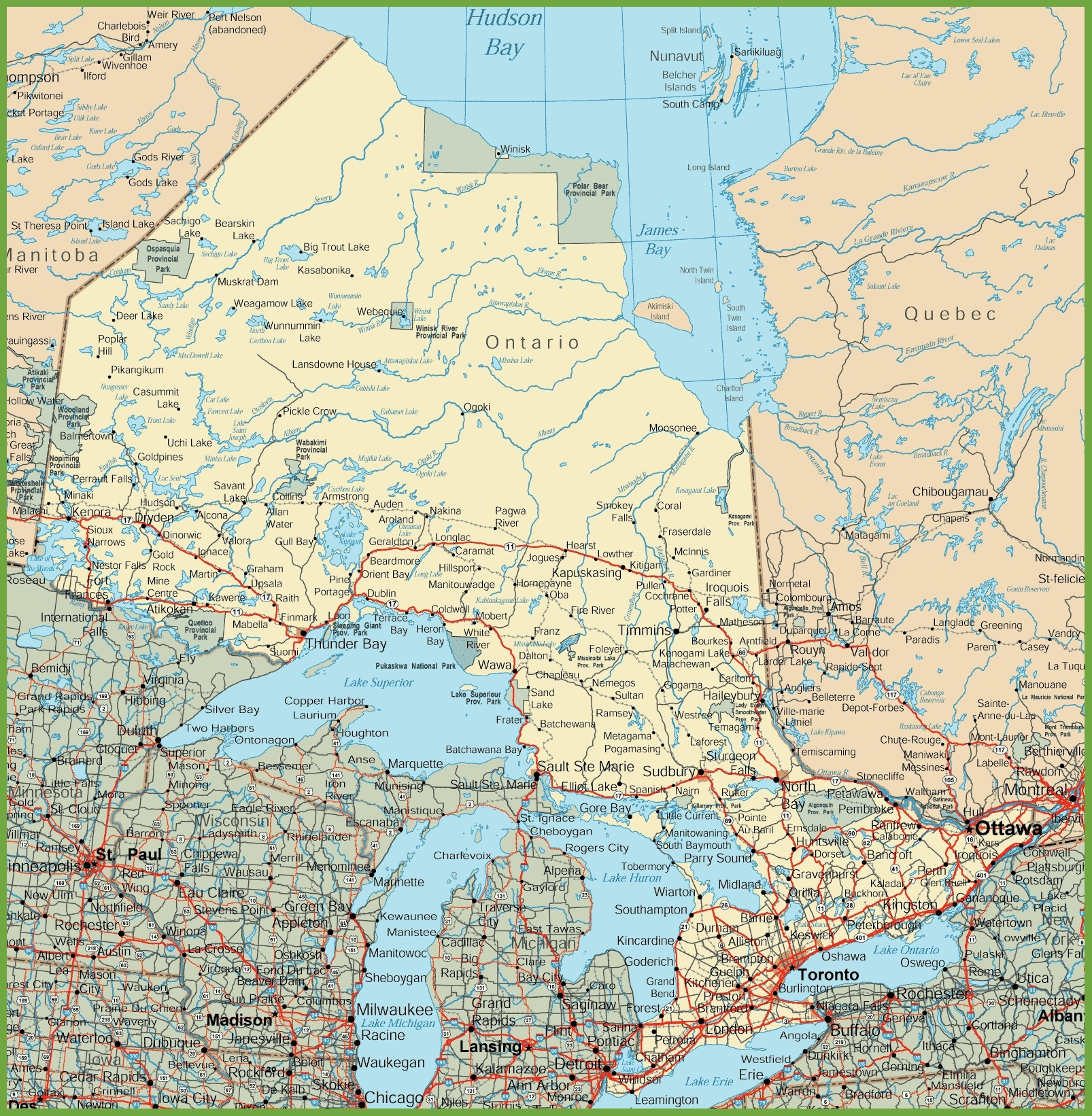 Ontario Road Map - Free Printable Map Of Ontario