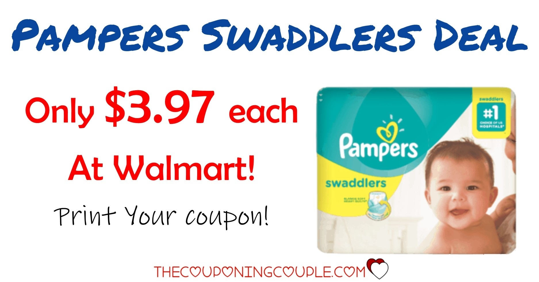 Pampers Swaddlers Deals! Only $3.97 @walmart! - Free Printable Pampers Swaddlers Coupons