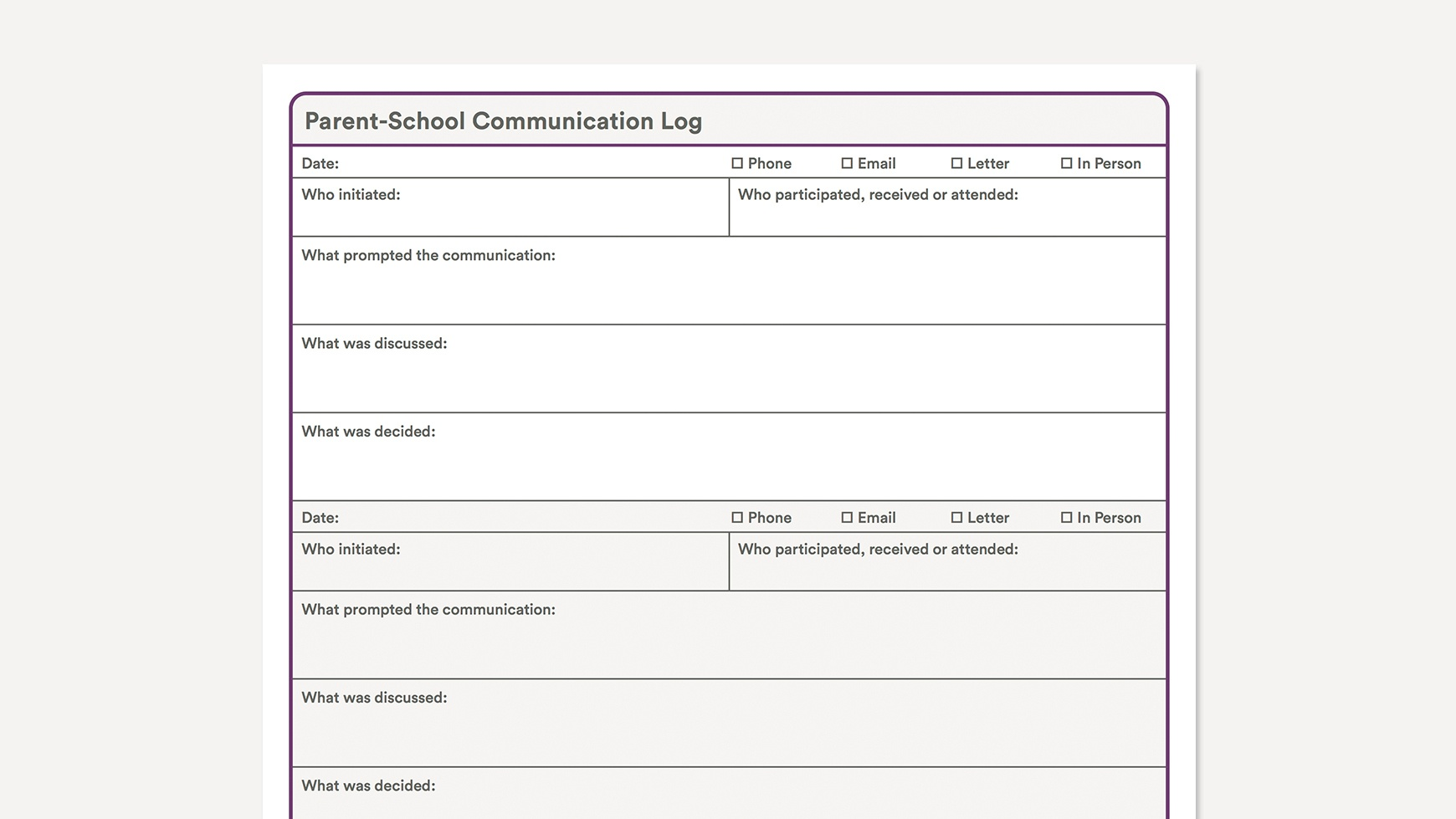 Parent-School Communication Log - Free Printable Parent Communication Log For Teachers