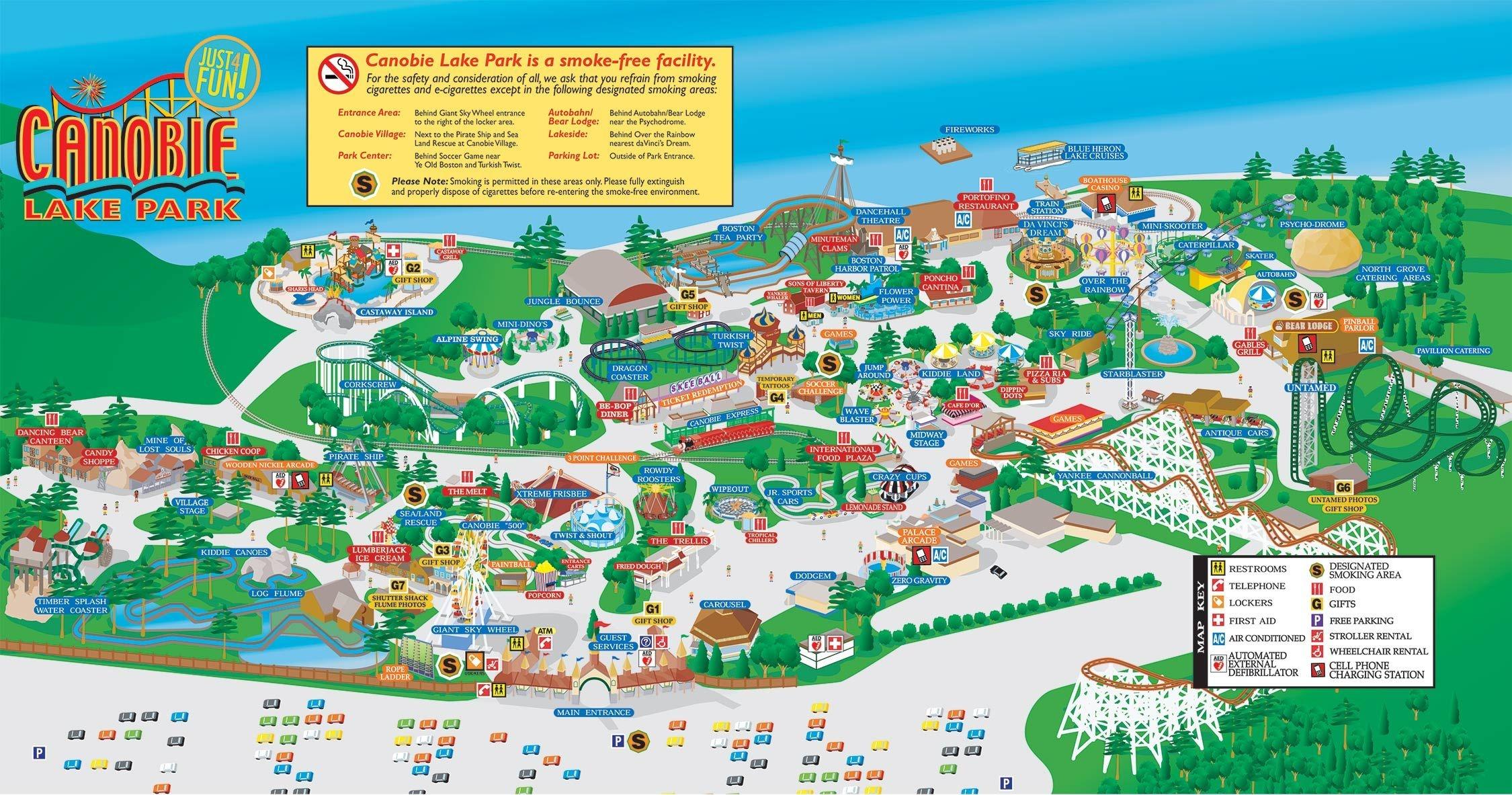 Park Map   Canobie Lake Park   Map In 2019   Canobie Lake Park, Park - Free Printable Coupons For Canobie Lake Park