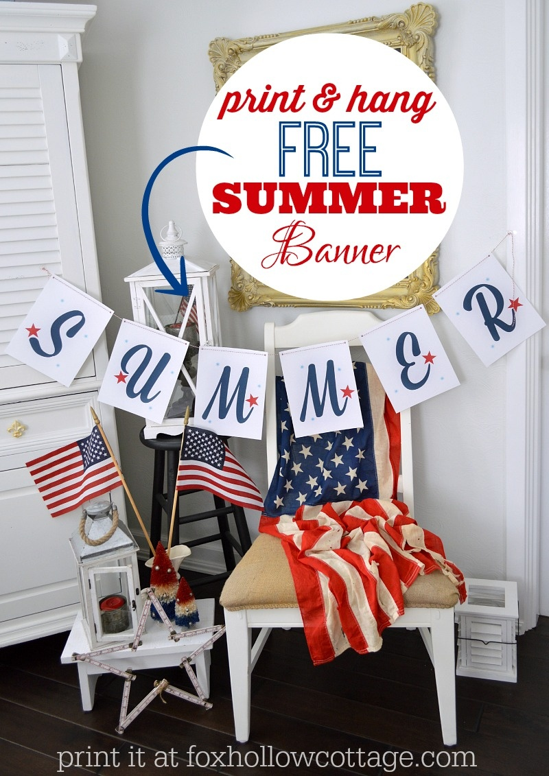 Patriotic Summer Printable Banner - Fox Hollow Cottage - Free Printable Patriotic Banner