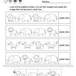 Pattern Activity Worksheet   Free Kindergarten Worksheet For Kids   Free Printable Kindergarten Worksheets Cut And Paste