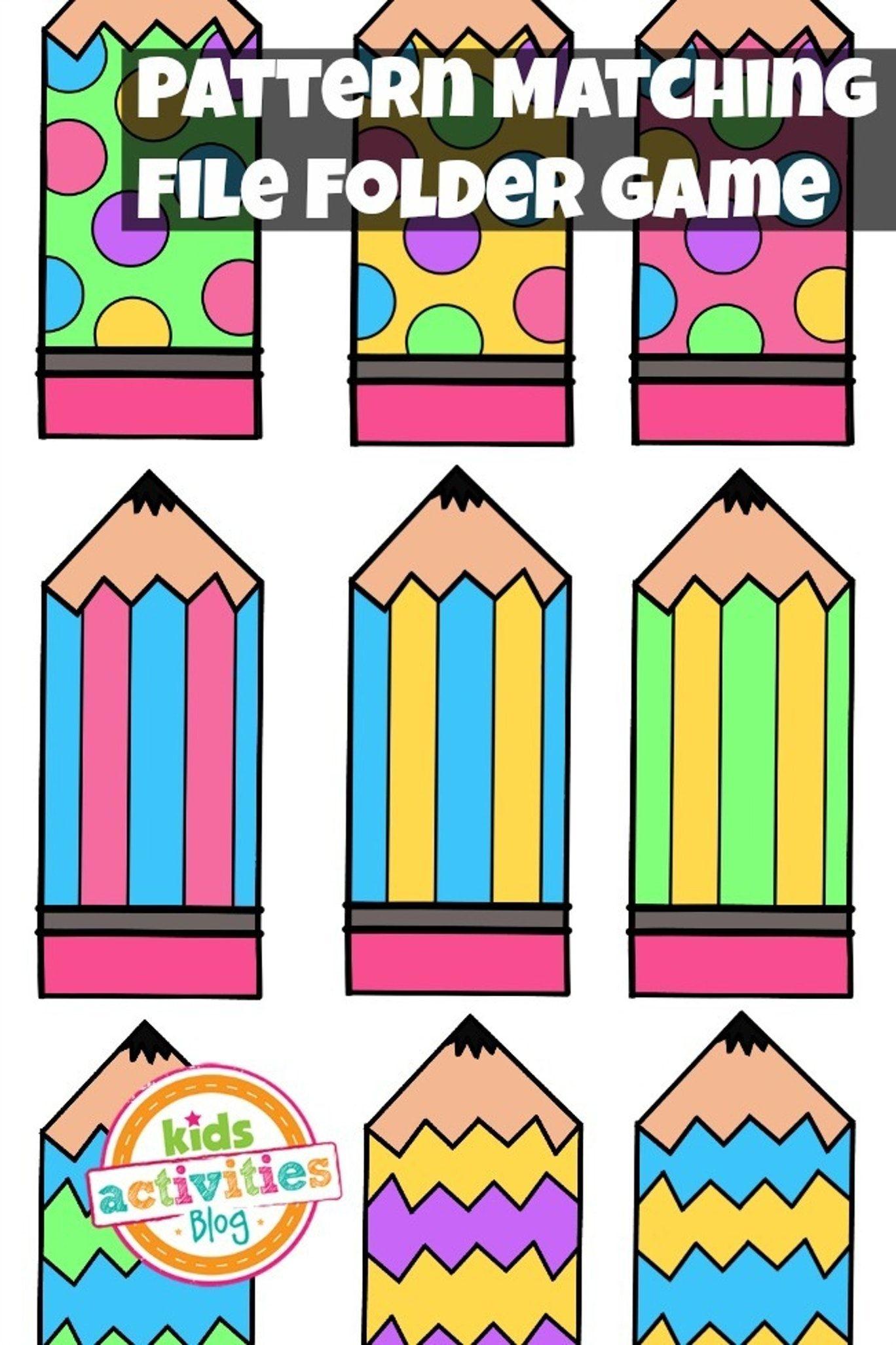 Pattern Matching Free Printable File Folder Game For Preschoolers - Free Printable File Folder Games