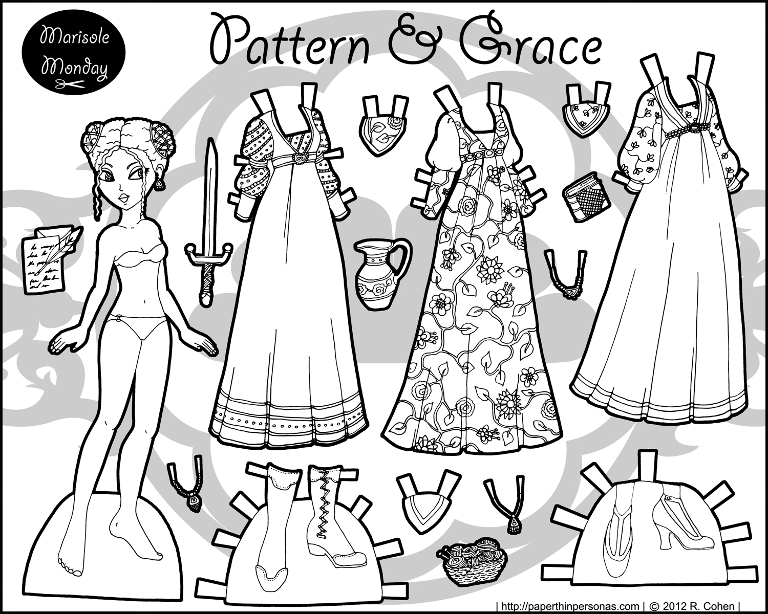 Patterns & Grace: A Black & White Fantasy Paper Doll | Barbie All - Medieval Paper Dolls Free Printable