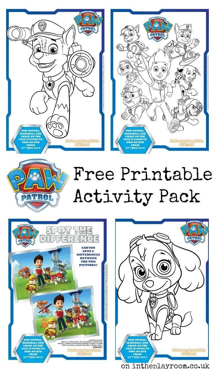 Paw Patrol Colouring Pages And Activity Sheets - In The Playroom - Paw Patrol Free Printables