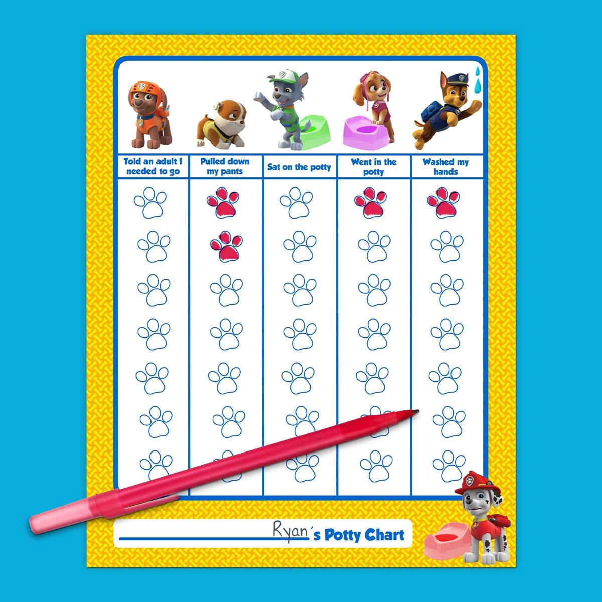 Paw Patrol Potty Training Chart   Nickelodeon Parents - Potty Training Chart Free Printable
