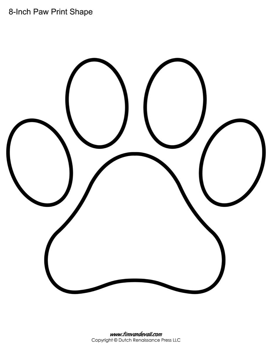 Paw Print Template Shape-Lots Of Different Sizes | Teacher Resources - Free Printable Shapes Templates