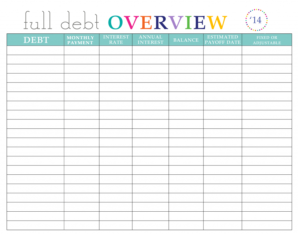 Paying Off Debt Worksheets - Free Printable Debt Snowball Worksheet