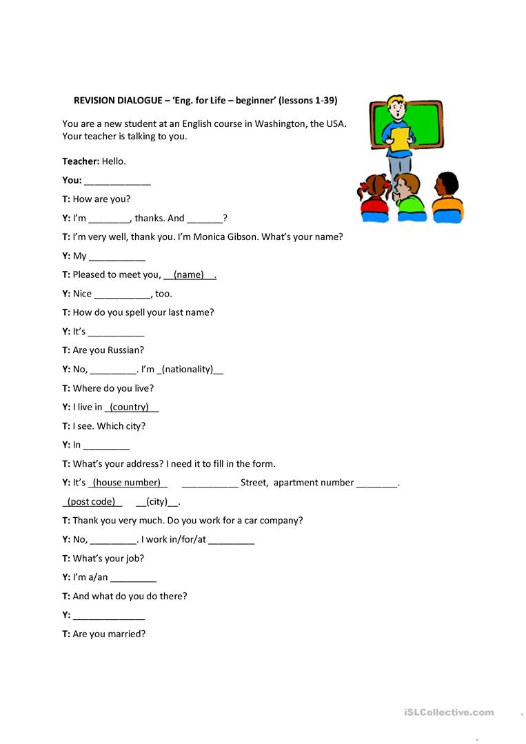 Personal Information Dialog - English For Life - Beginner (Revision - Free Printable English Lessons