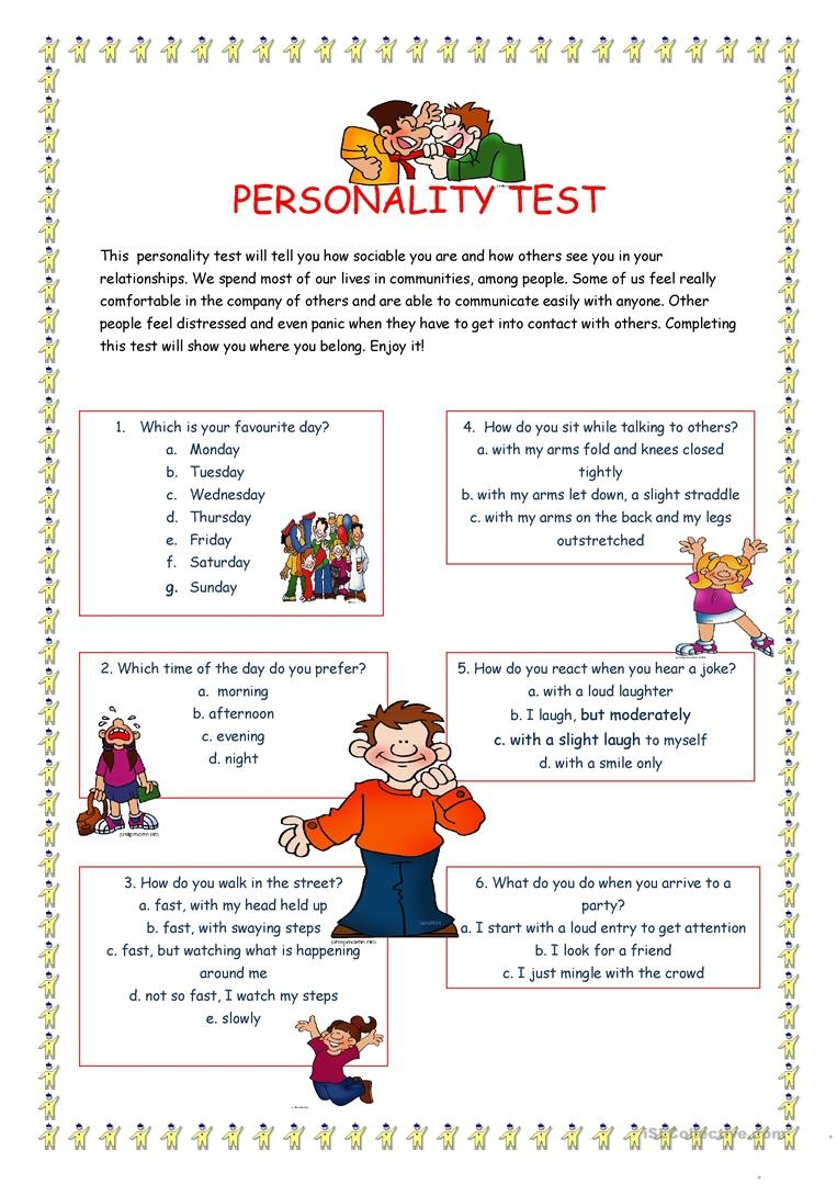 Personality Test I. Worksheet - Free Esl Printable Worksheets Made - Free Printable Personality Test For High School Students