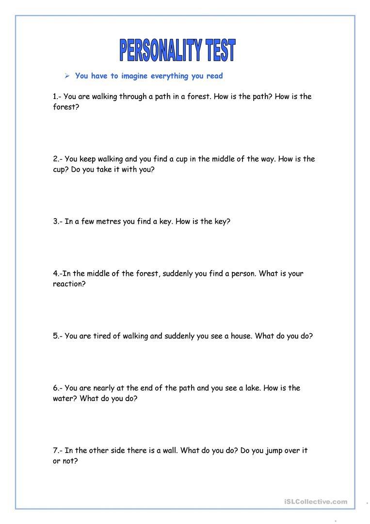 Personality Test Worksheet - Free Esl Printable Worksheets Made - Free Printable Personality Test For High School Students