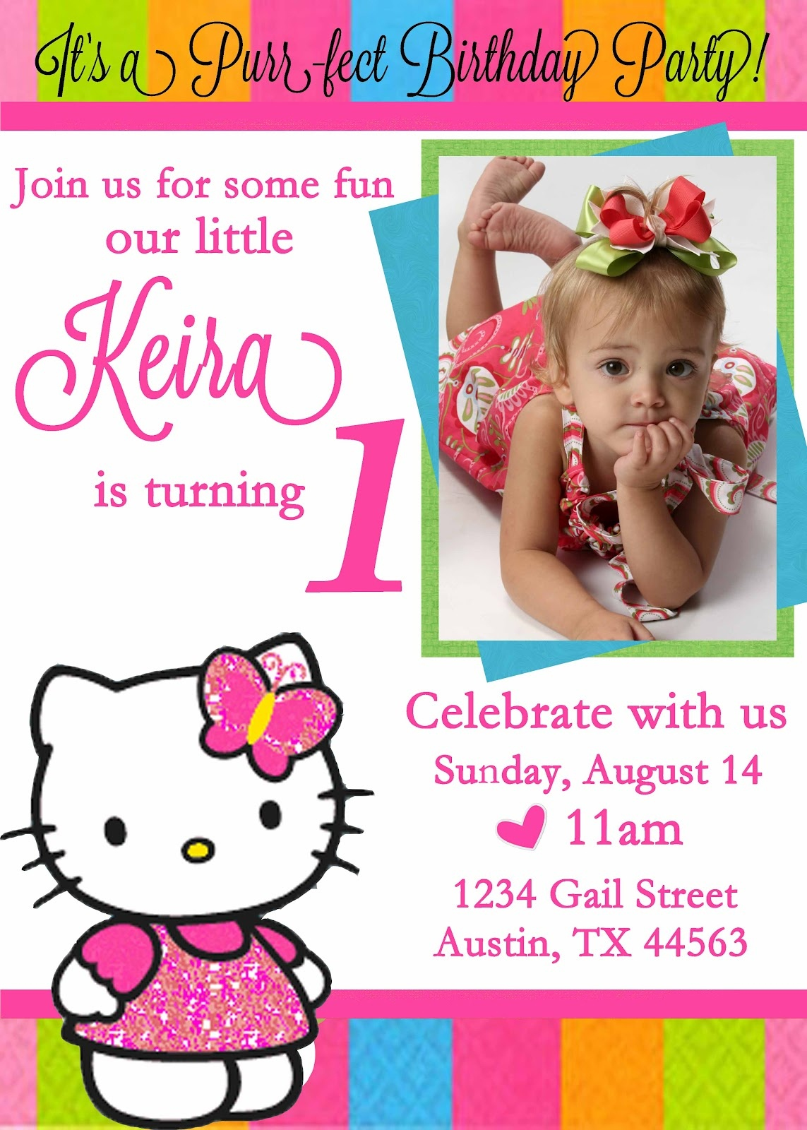 Personalized Hello Kitty Birthday Invitations - Updated! - Free - Card Maker Online Free Printable
