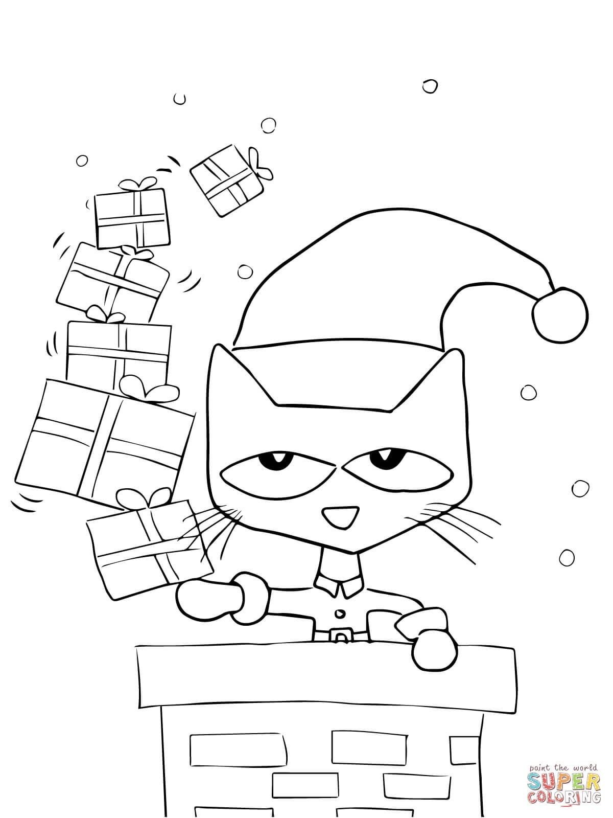 Pete The Cat Saves Christmas Coloring Page | Free Printable Coloring - Free Christmas Coloring Printables