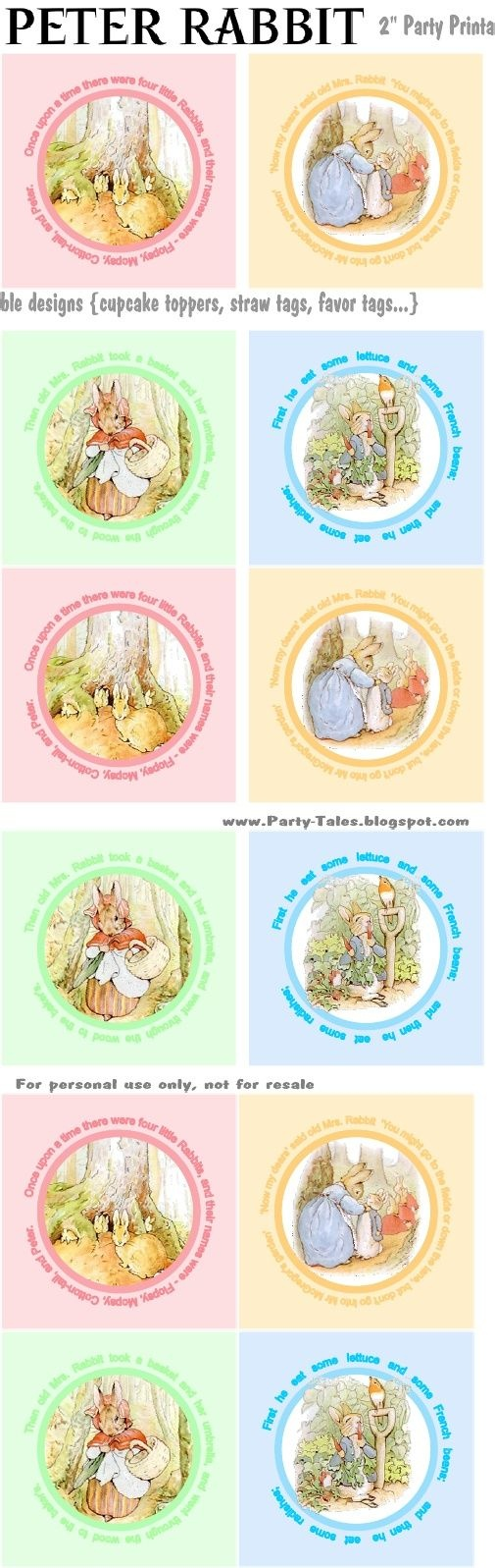 Peter Rabbit Cupcake Toppers Free To Print | Birthday Time! | Peter - Free Peter Rabbit Party Printables