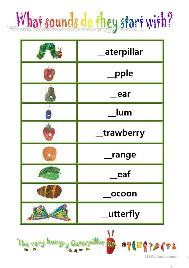 """Phionics-Beginning Sound With """"the Very Hungry Caterpillar - The Very Hungry Caterpillar Free Printables"""