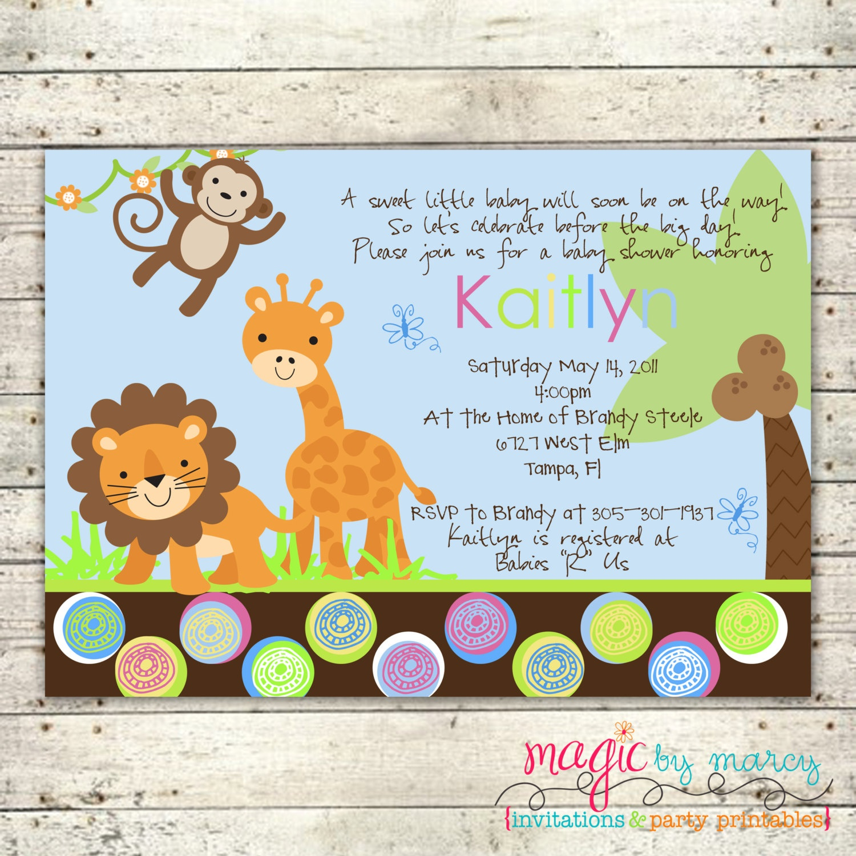 Photo : Jungle Baby Shower Invitations Image - Free Printable Jungle Safari Baby Shower Invitations
