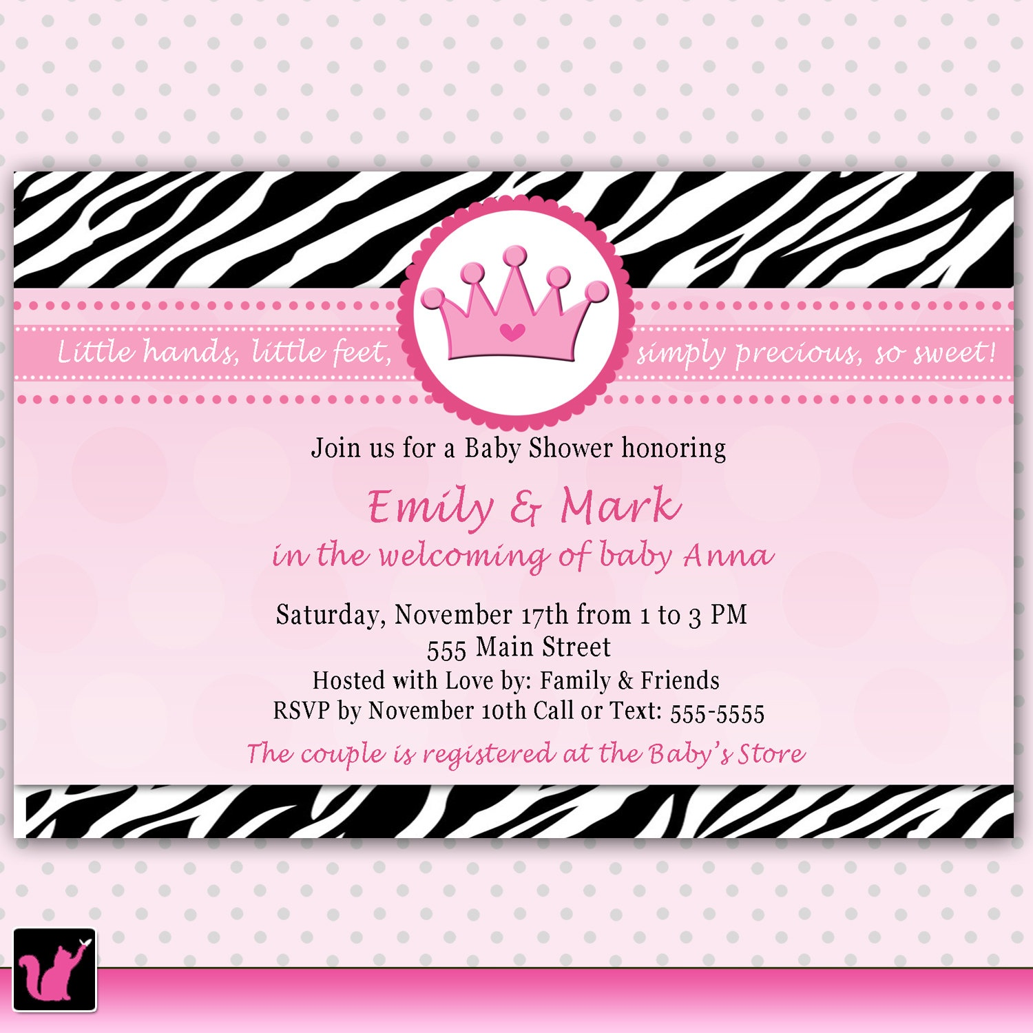 Photo : Pink And Brown Zebra Image - Free Printable Pink Zebra Baby Shower Invitations