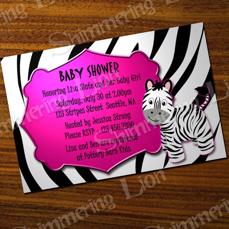 Photo : Zebra Baby Shower Invitations Templates Image - Free Printable Pink Zebra Baby Shower Invitations