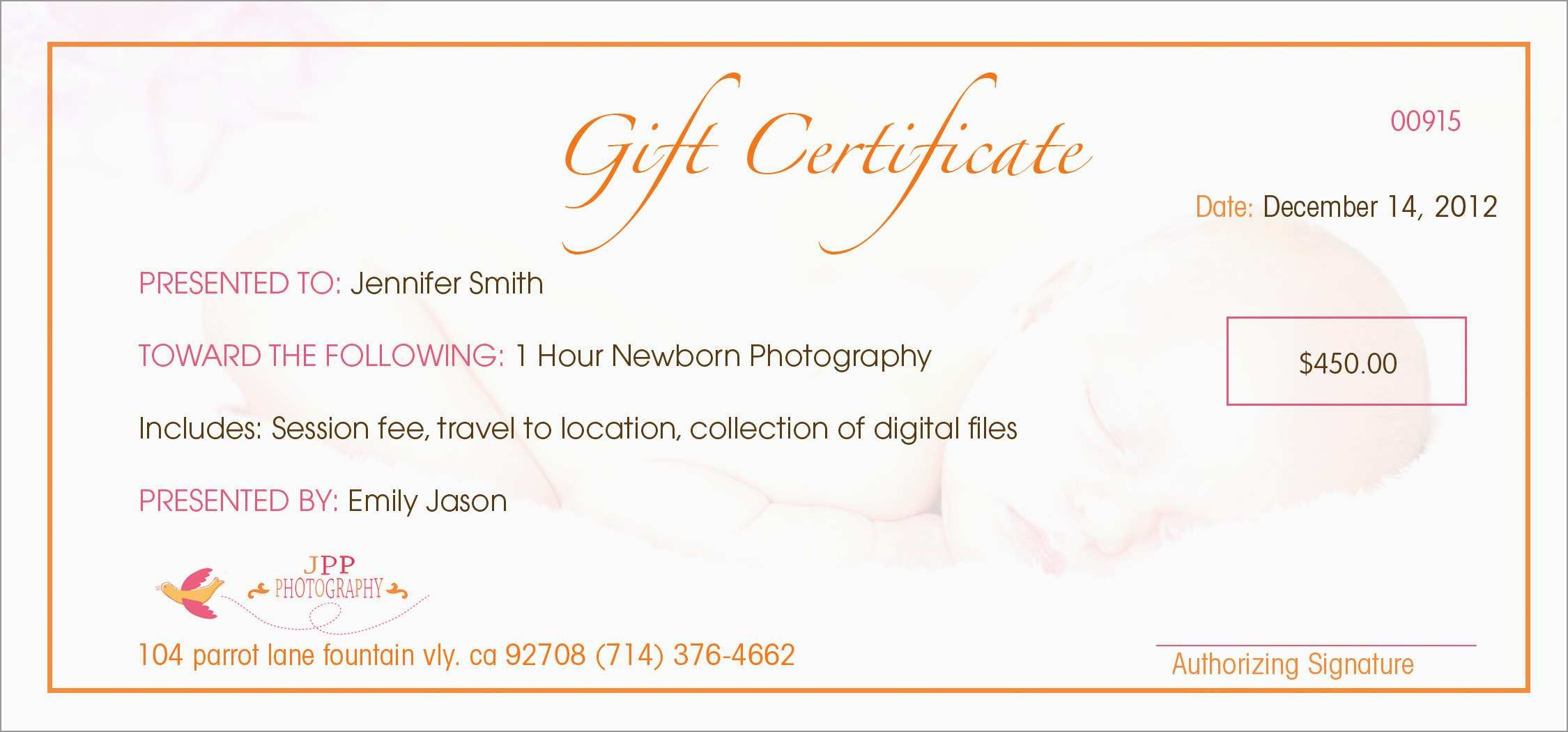 Photography Gift Certificate Template Free Amazing Printable Gift - Free Printable Photography Gift Certificate Template