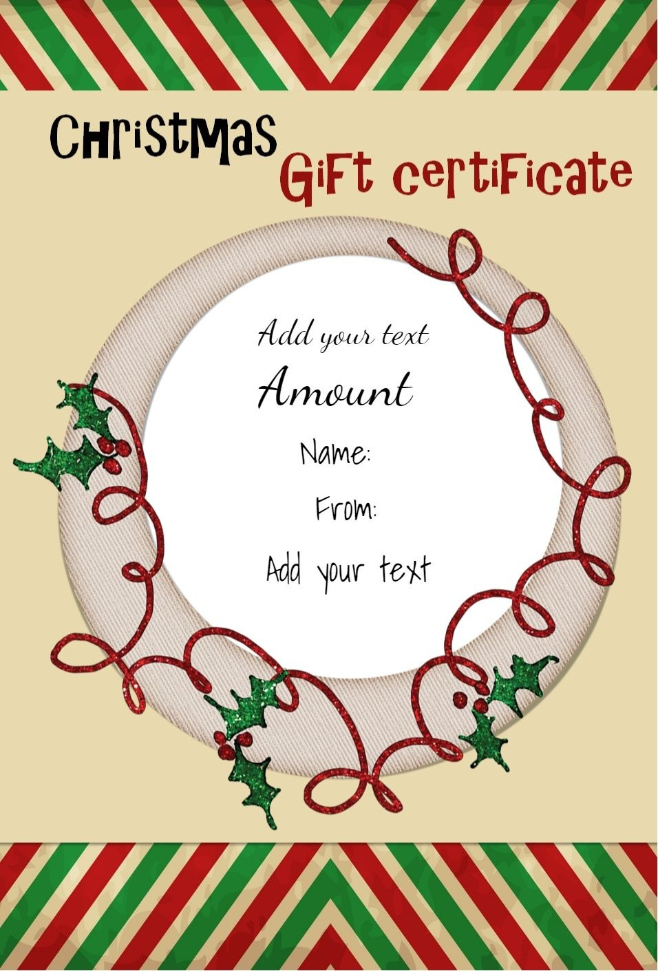Pinamber M Ross On Gift Ideas | Gift Certificate Template - Free Printable Gift Certificate Christmas