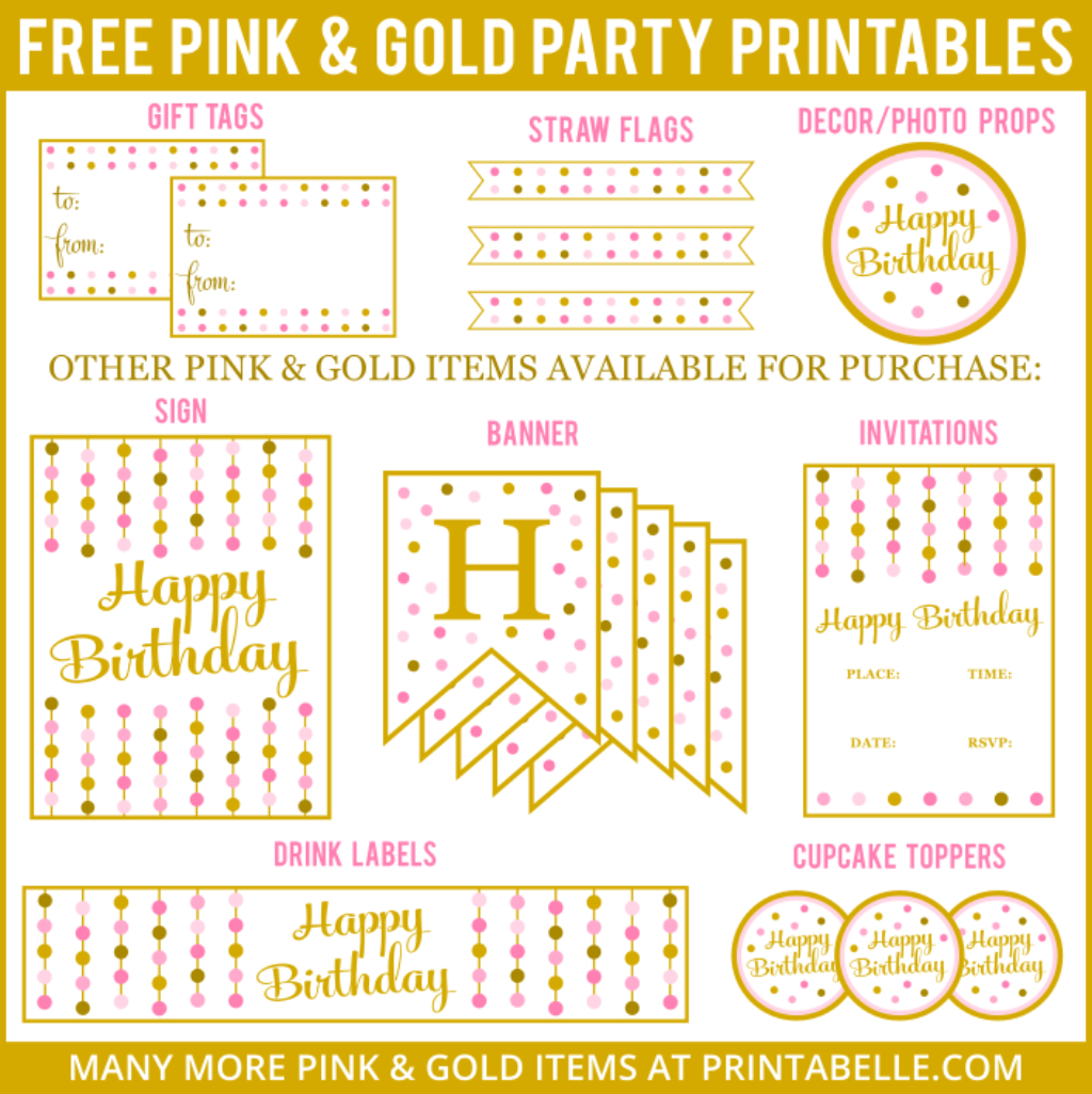Pink & Gold Party Printables | Free Printables | Pink Gold Party - Free Printable Princess Birthday Banner