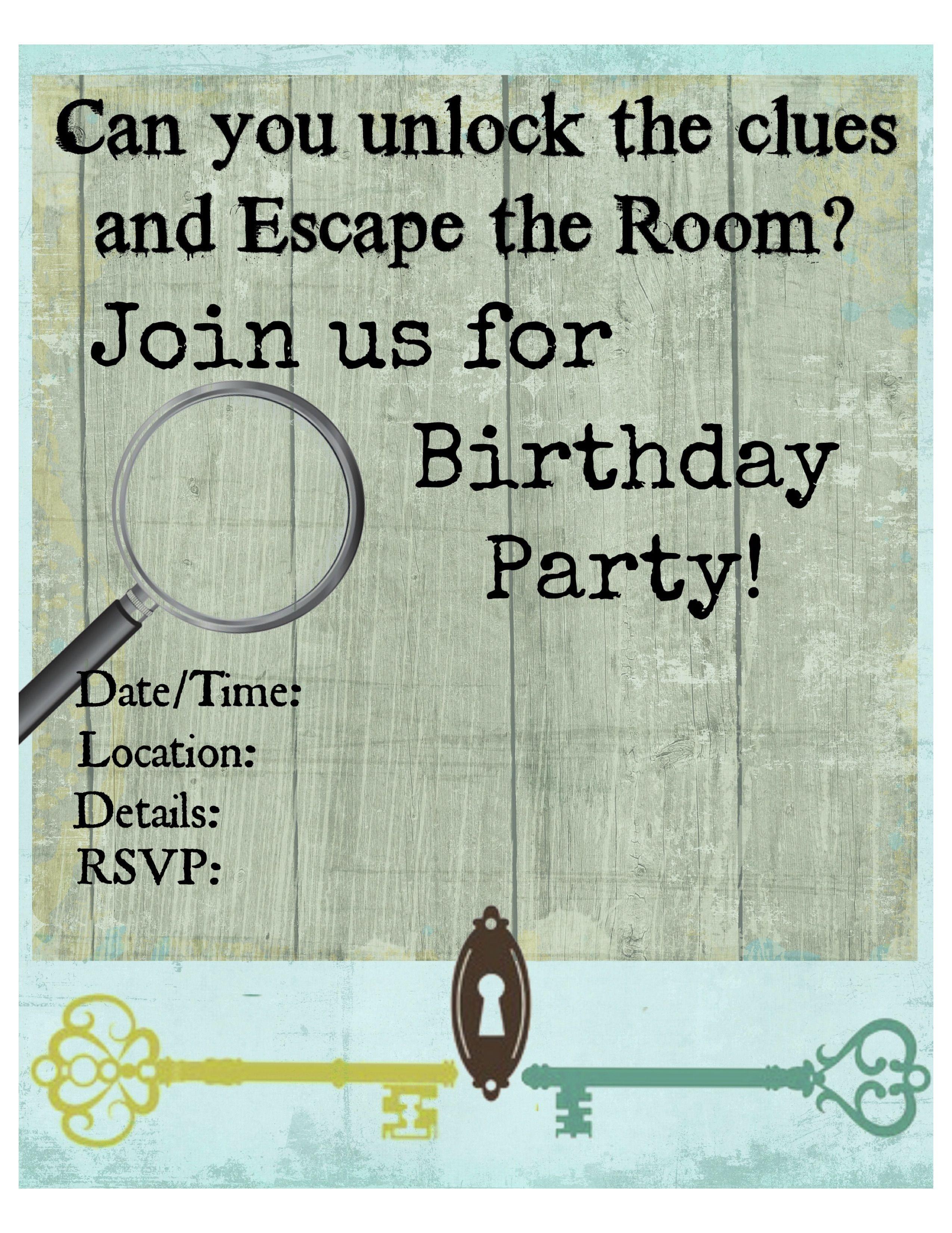 Pinkiki On Γενέθλια | Escape Room, Birthday Party Invitations - Printable Escape Room Free