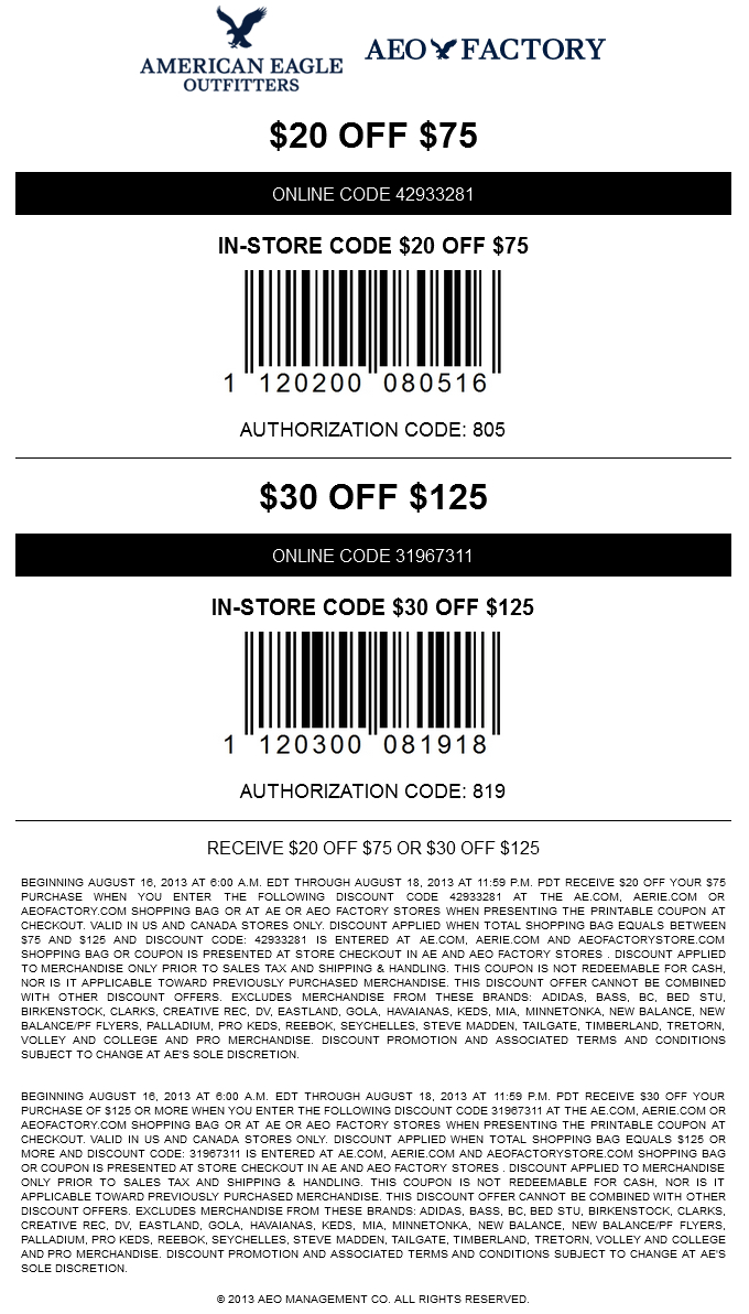 Pinned August 17Th: $20 Off $75 And More At American Eagle - Free Printable American Eagle Coupons