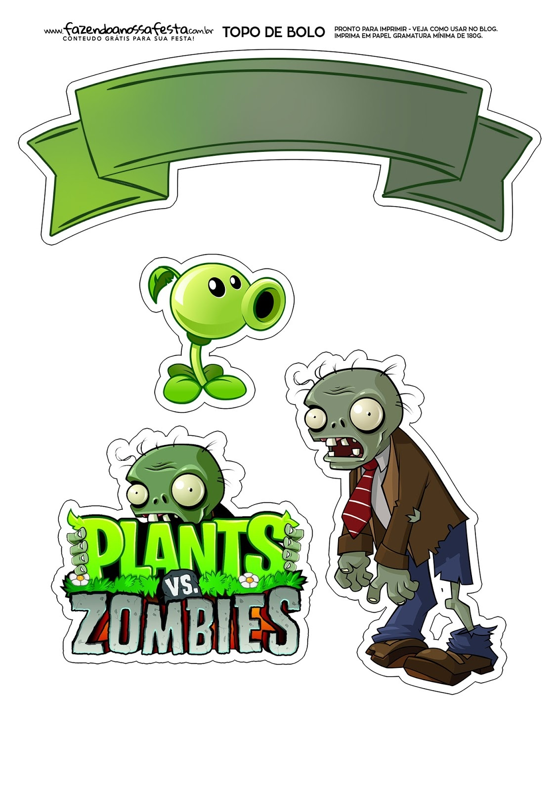 Plants Vs. Zombies: Free Printable Cake Toppers. - Oh My Fiesta! For - Plants Vs Zombies Free Printable Invitations