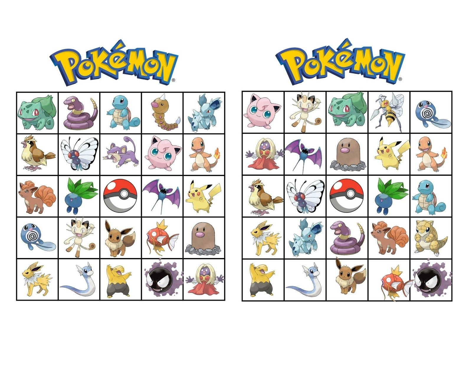 Pokemon Bingo | Henry Turns 6 | Pokemon Party, Pokemon Birthday - Free Printable Pictures Of Pokemon