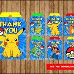 Pokemon Thank You Tags Printable Pokemon Tags Pokemon Party | Etsy   Free Printable Pokemon Thank You Tags