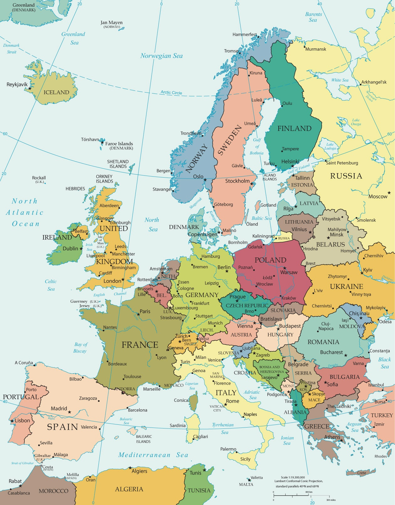 Political Map Of Europe - Countries - Free Printable Map Of Europe With Cities