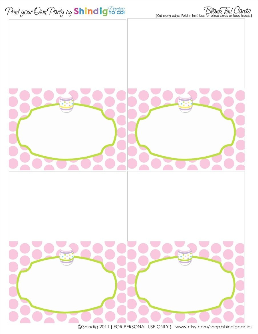 Polka Dot Easter Free Printable Place Cards | Easter | Easter - Free Printable Food Tent Cards