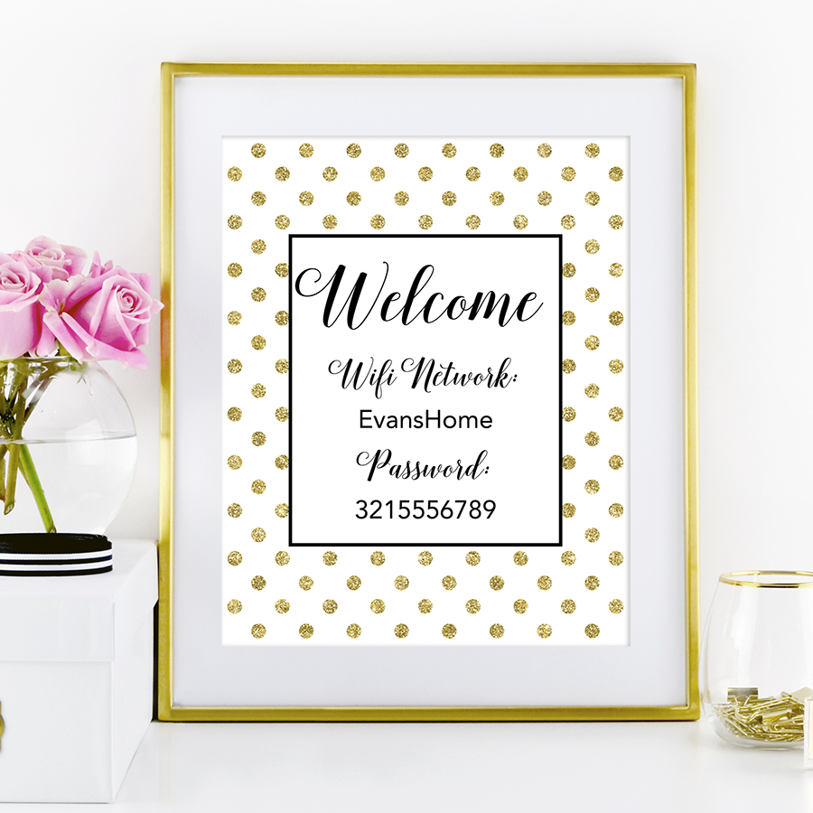 Polka Dot Wifi Password Sign - Chicfetti - Free Wifi Password Printable