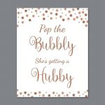 Pop The Bubbly She's Getting A Hubby Sign, Rose Gold Burgundy Bridal   Pop The Bubbly She's Getting A Hubby Free Printable