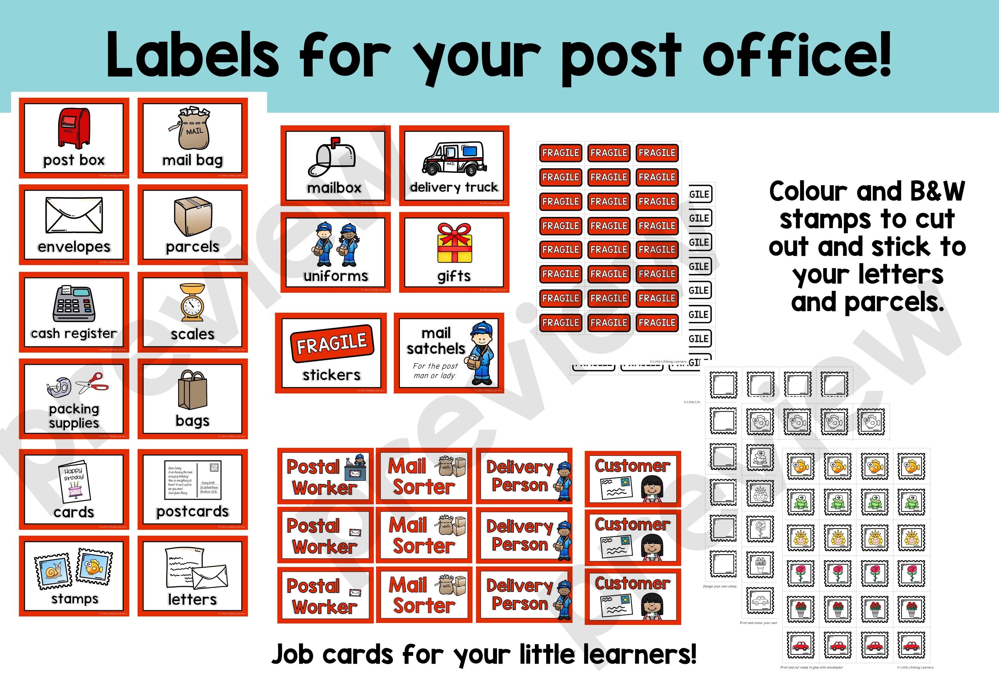 Post Office Dramatic Play Set - Little Lifelong Learners - Post Office Dramatic Play Free Printables
