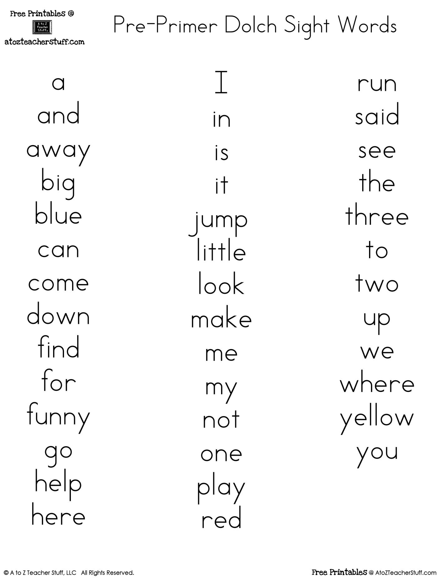 Pre-Primer Dolch Sight Words Free Printables | Reading Ideas For - Free Printable Kindergarten Sight Words