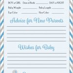 Prediction & Advice Cards   Printable Download   Blue & Gray Baby   Free Printable Baby Shower Advice Cards